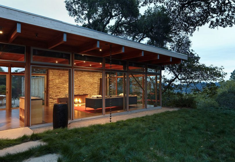 single story glass walled building