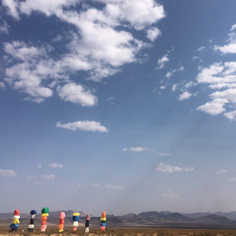 Seven Magic Mountains art installation under a big blue sky