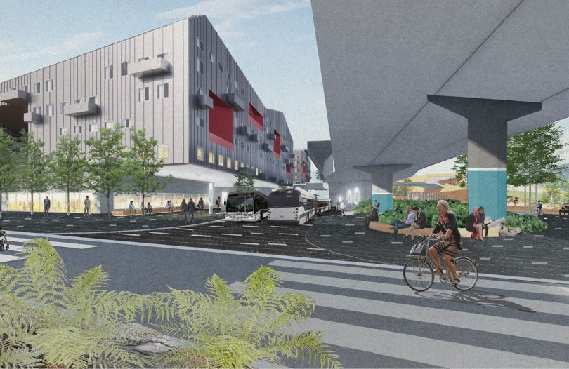 rendering of street and large modern building