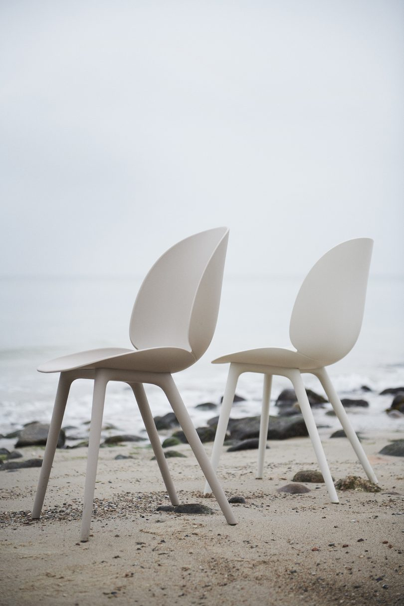 two chairs on a rocky beach