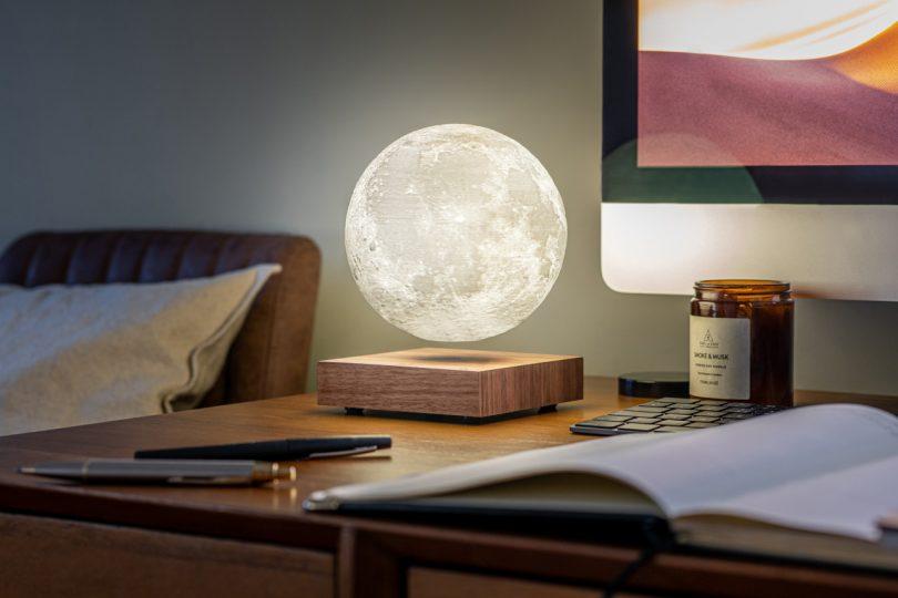 levitating moon light on desk