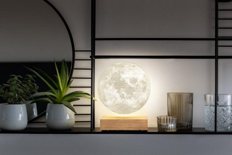 levitating moon light on shelf
