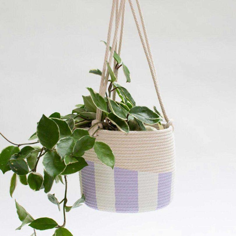woven lavender + cream hanging planter