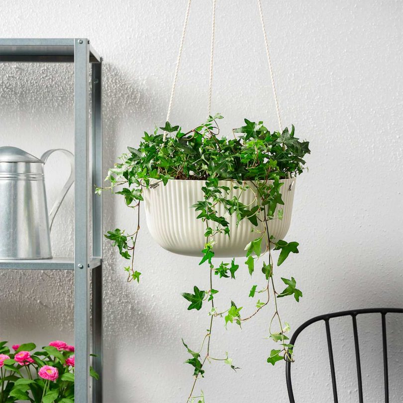IKEA ribbed white hanging planter