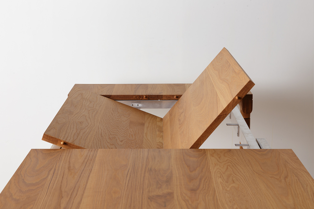 detail of butterflied dining table extension