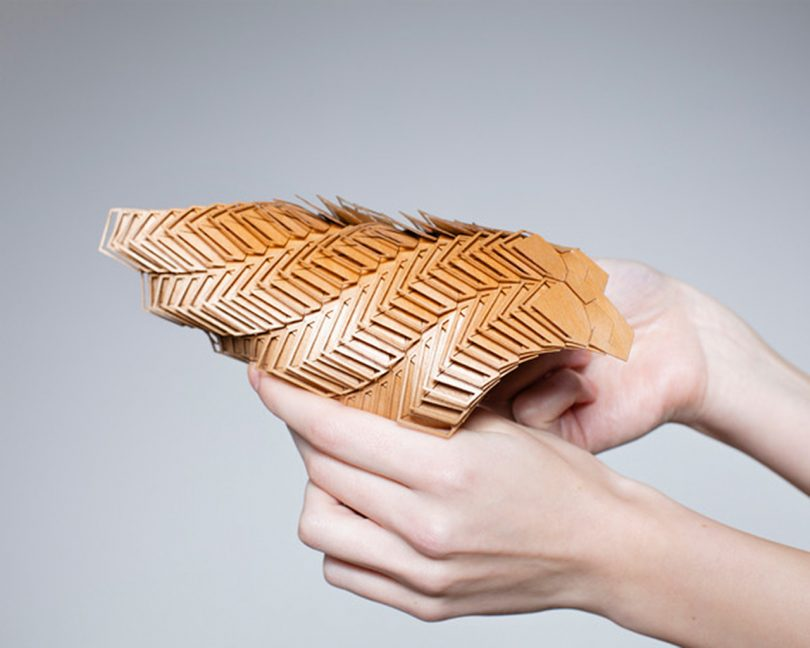 brown modular material being manipulated by two hands