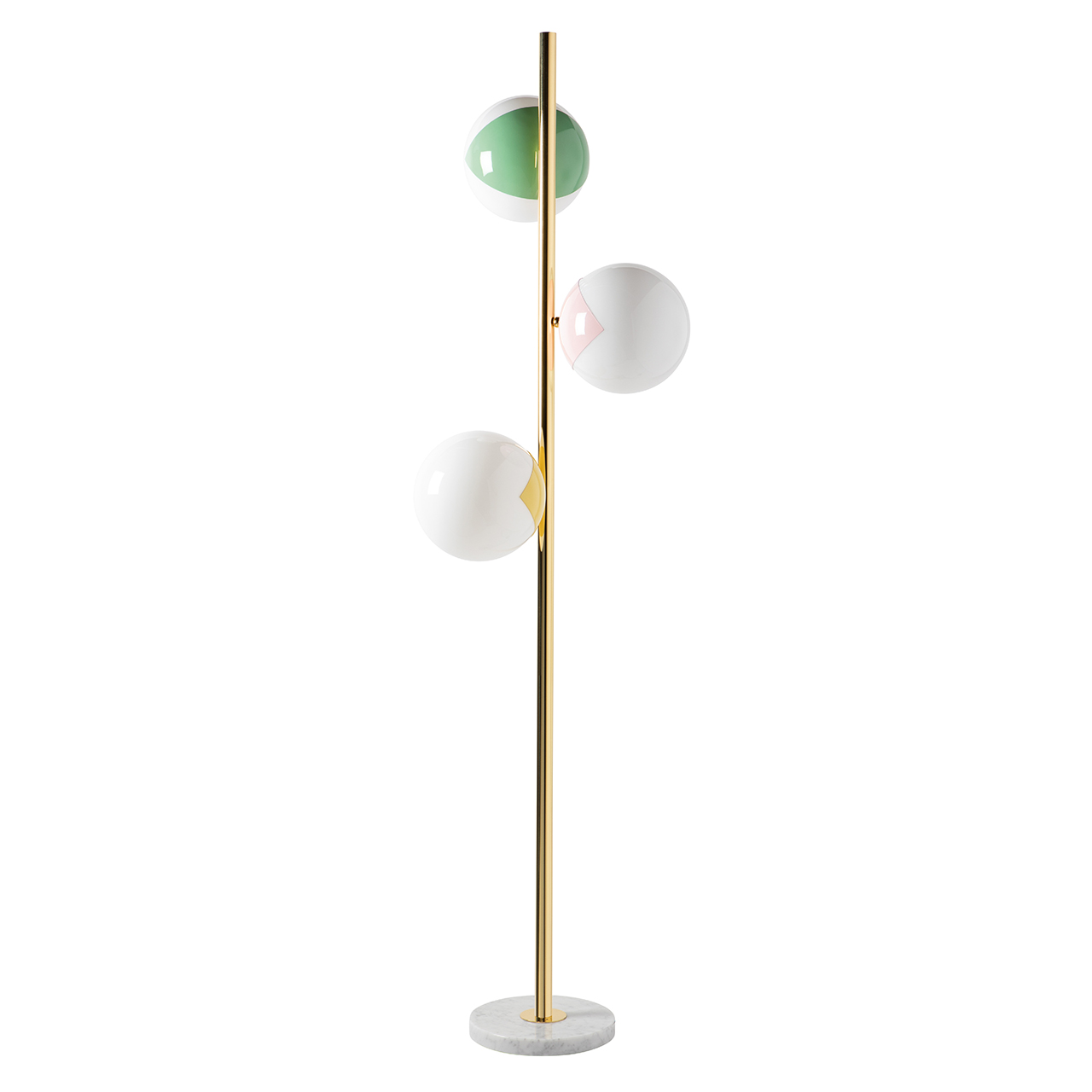 three globe floor lamp in gold, green, rose, and yellow