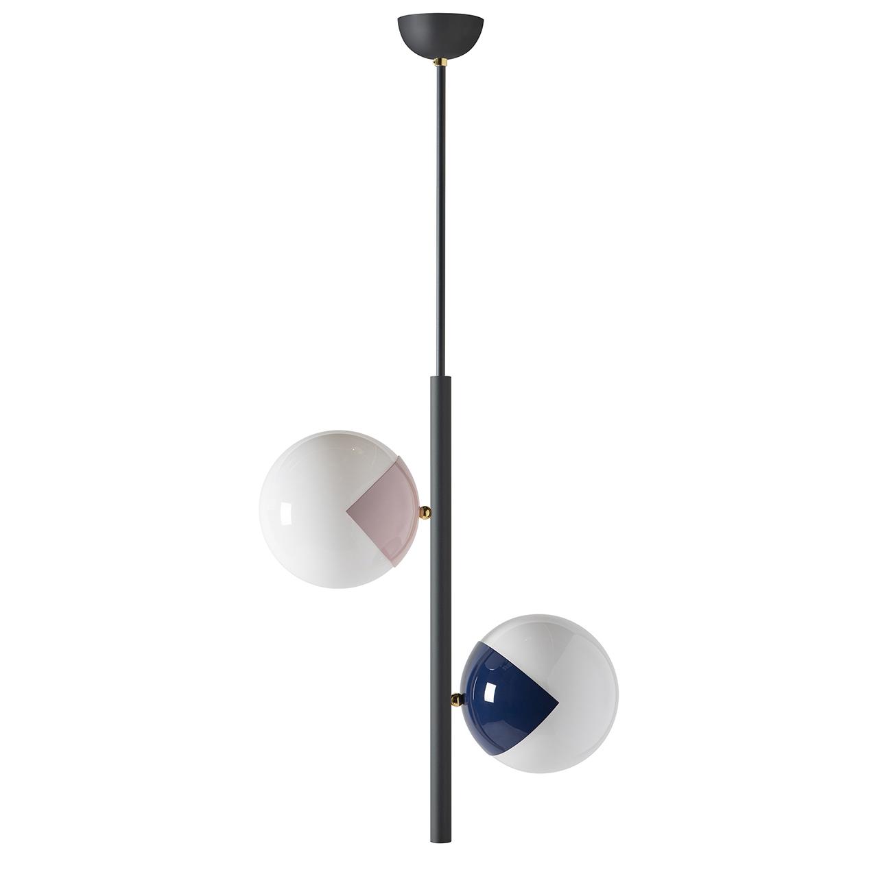 chandelier in black, rose, and blue