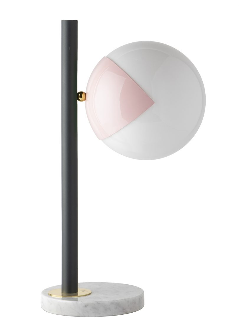 table lamp in black and pink