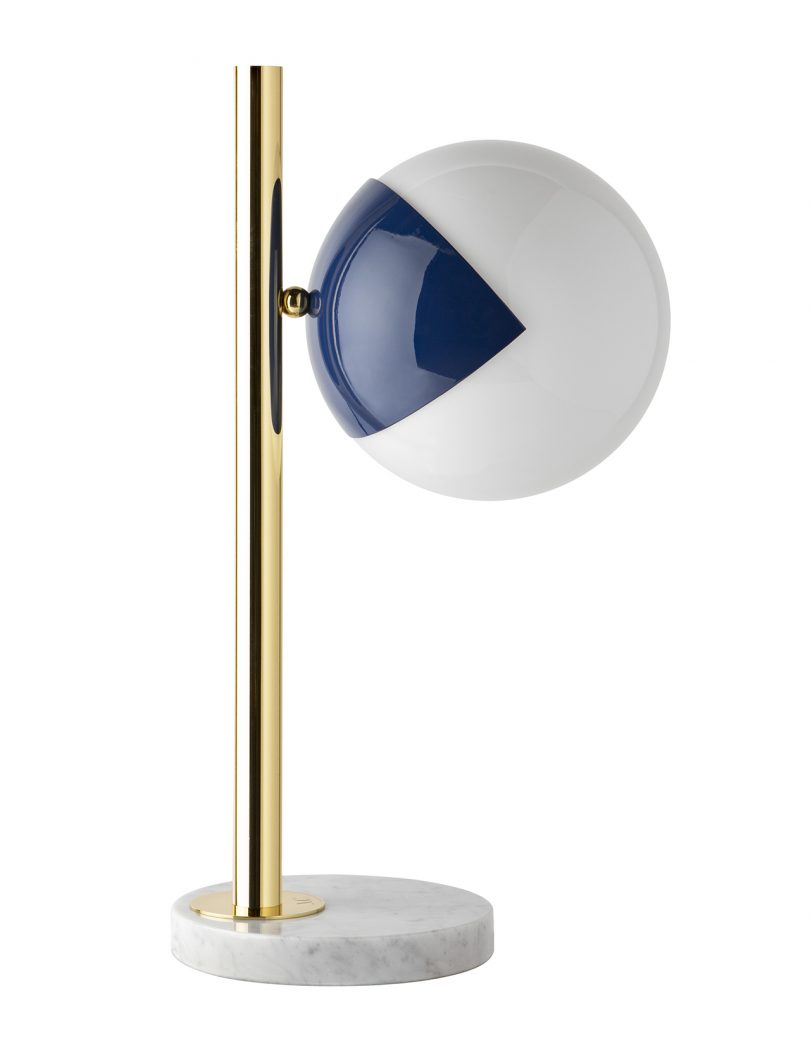table lamp in gold and blue