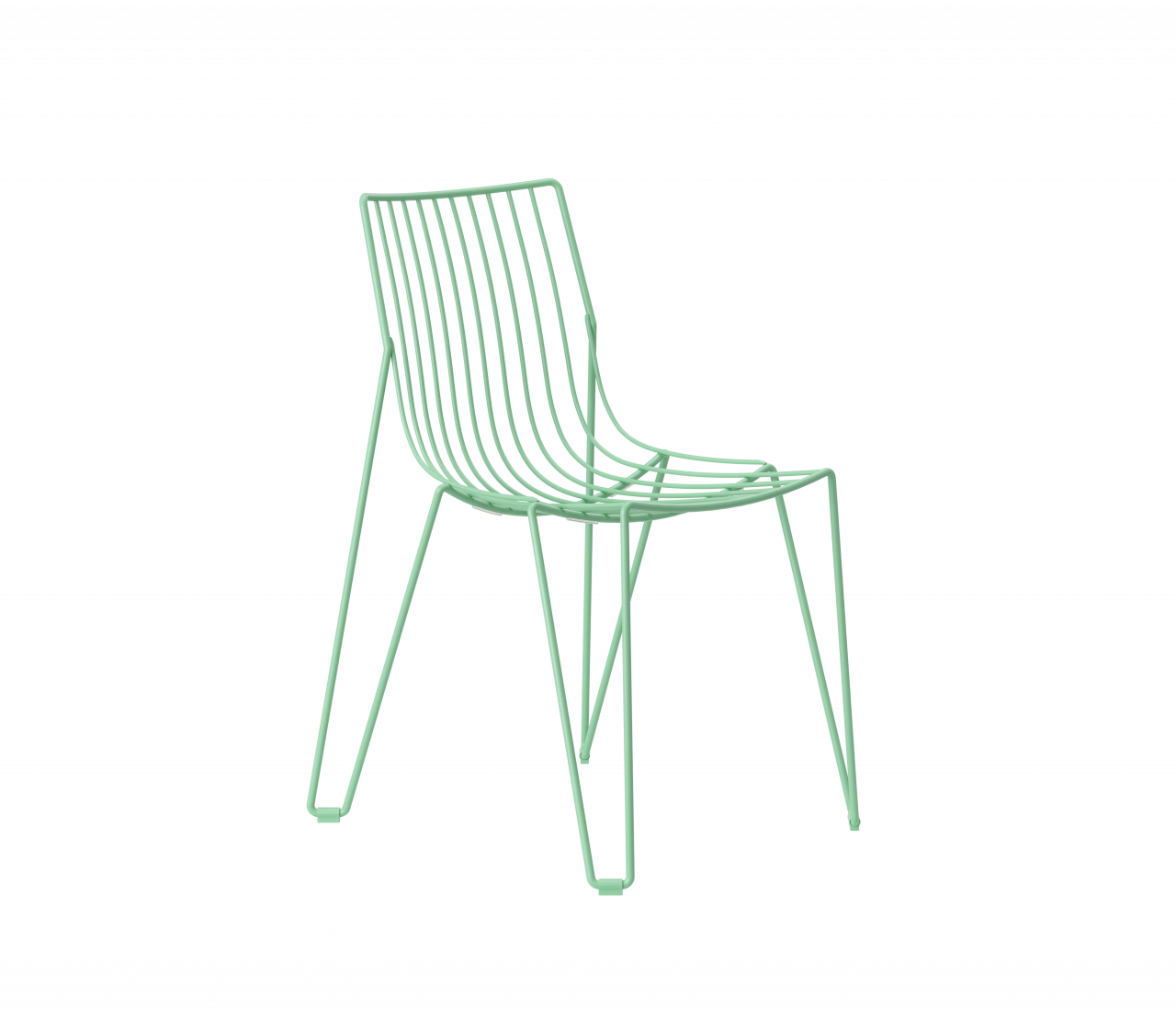 green wire chair on white background