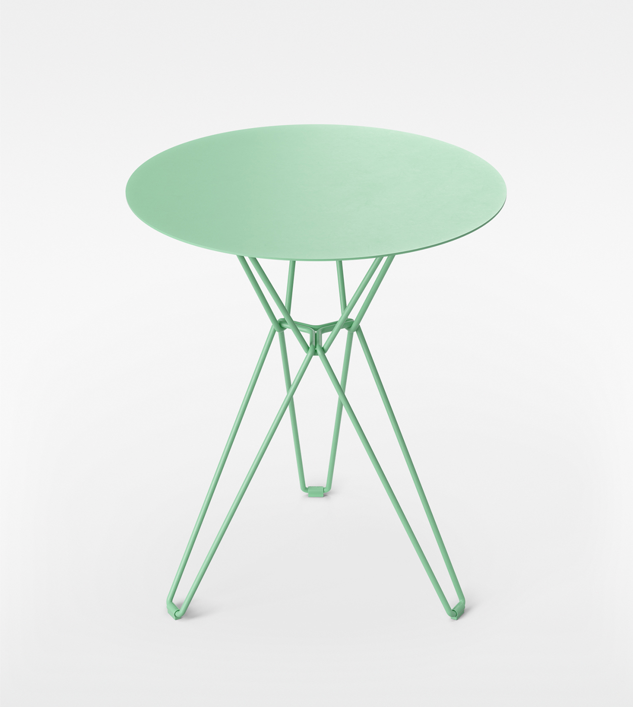 green coffee table on white background
