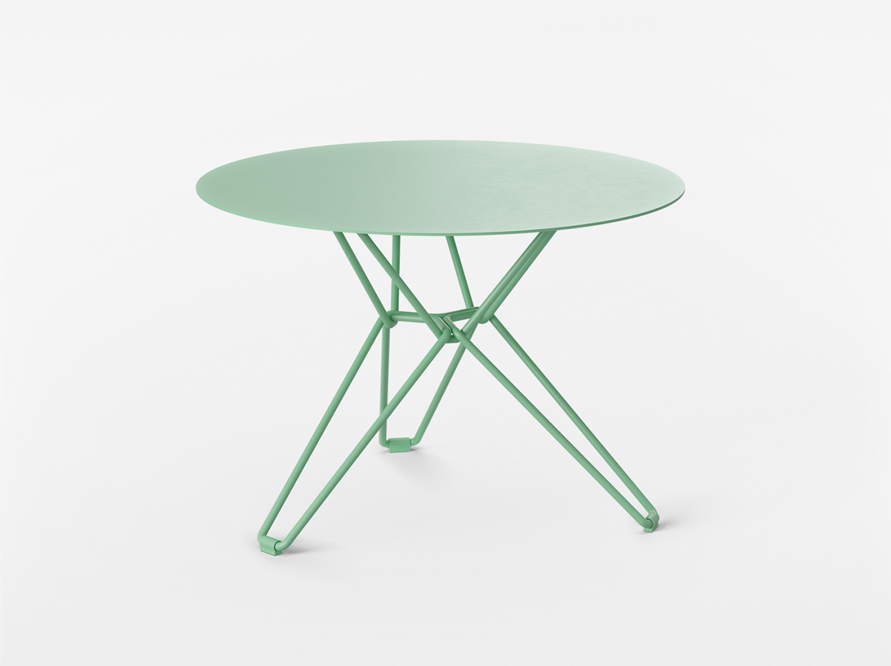 green side table on white background