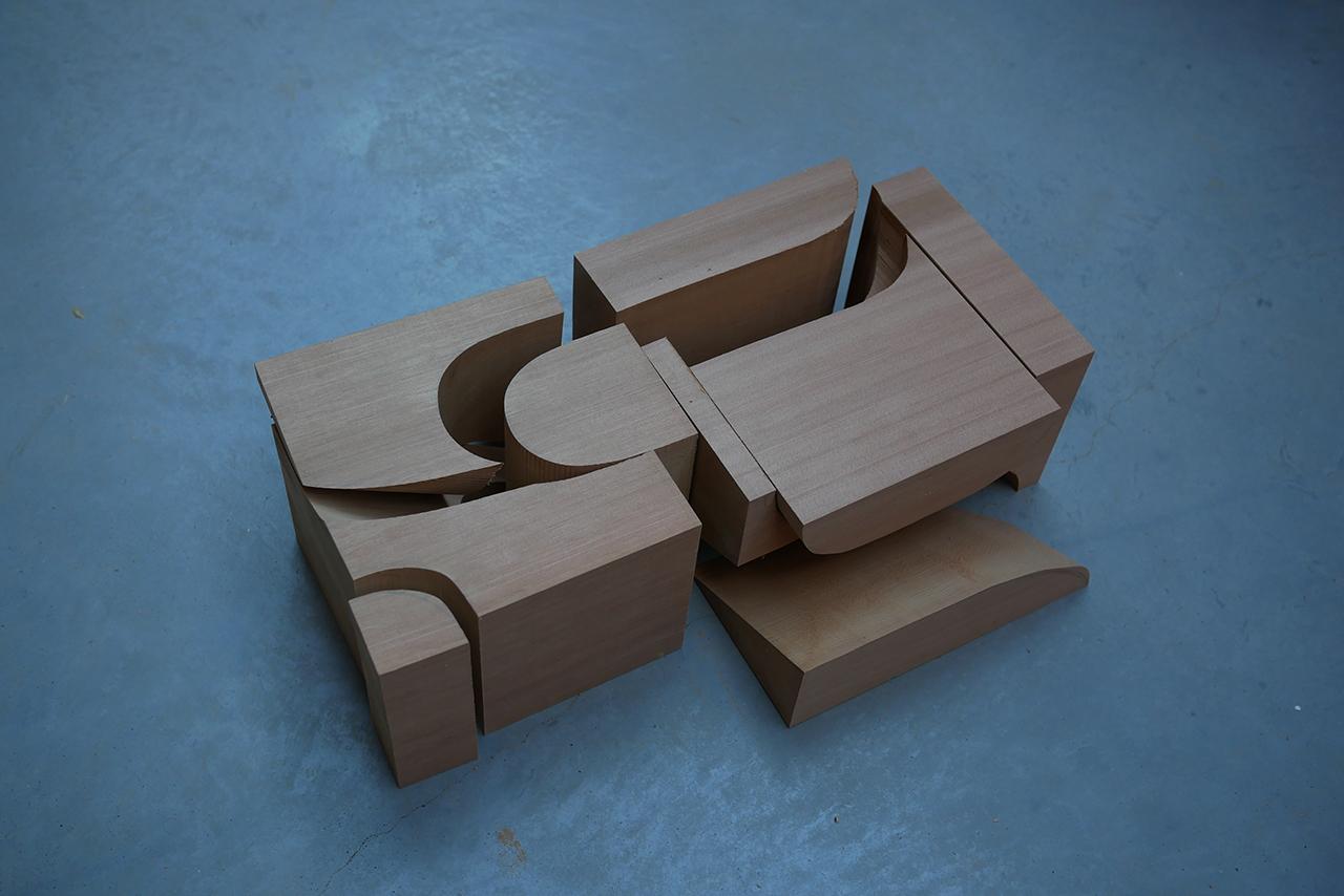 asymmetrical red cedar chair design cut