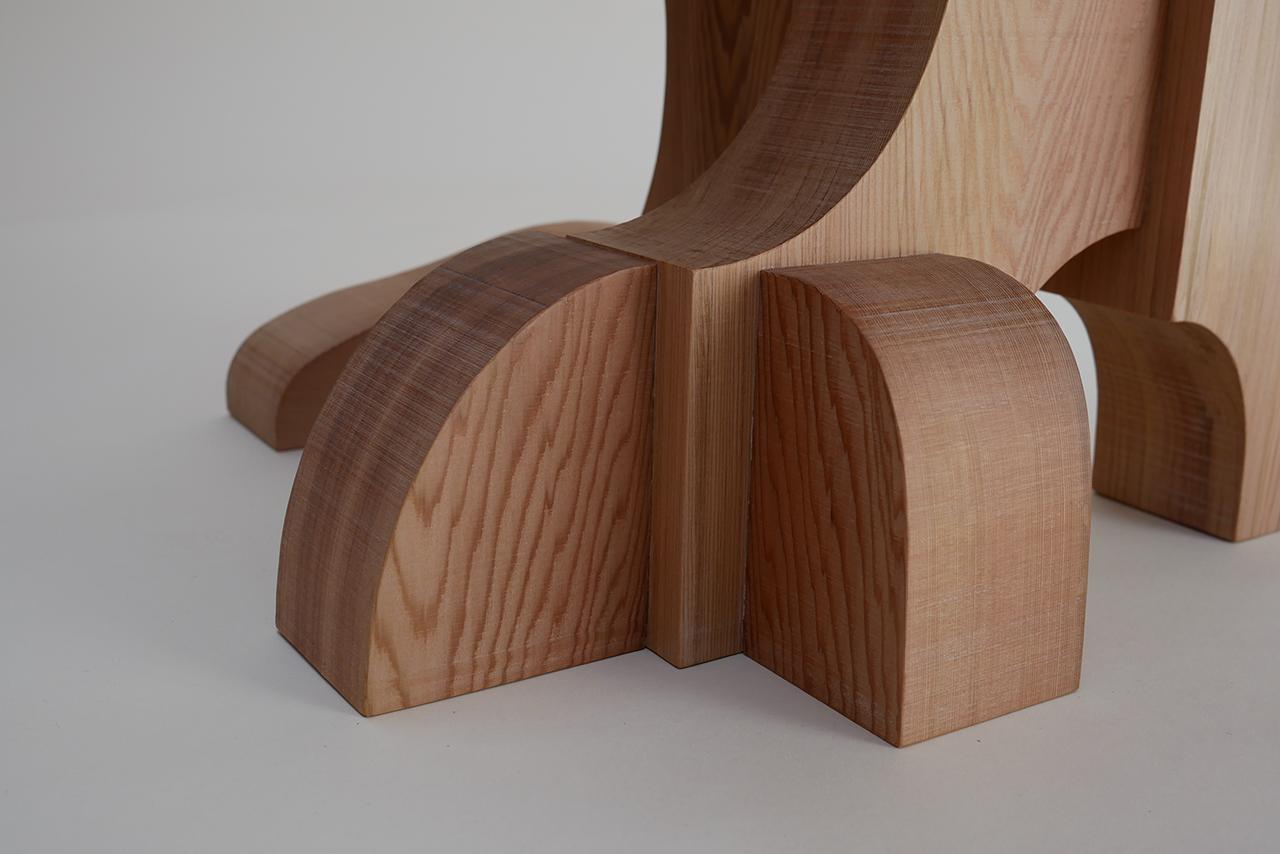 detail of asymmetrical red cedar chair