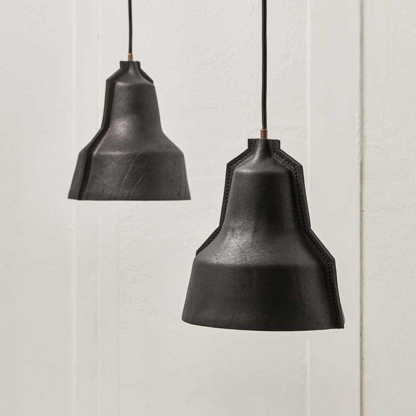 black leather pendant lights