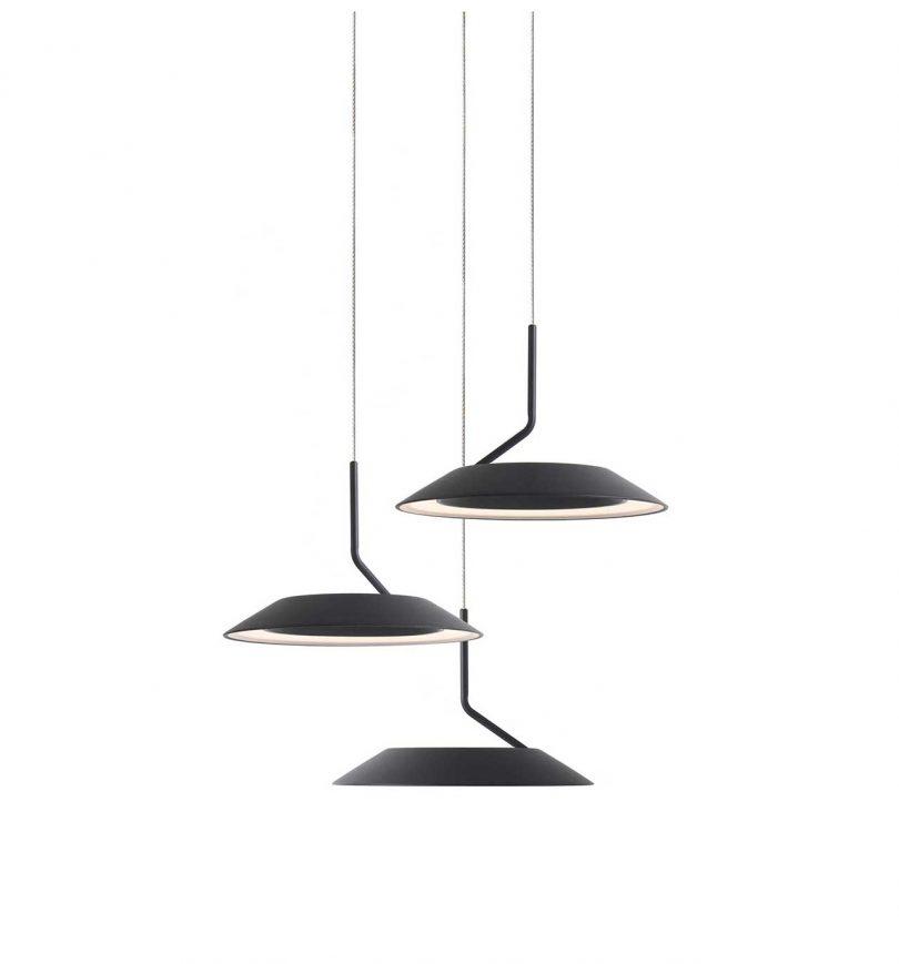 luzes suspensas pretas minimalistas
