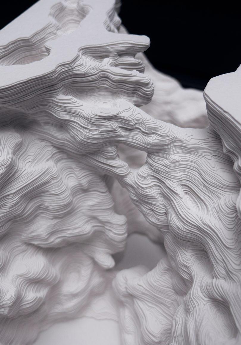 detail of sculptural paper art