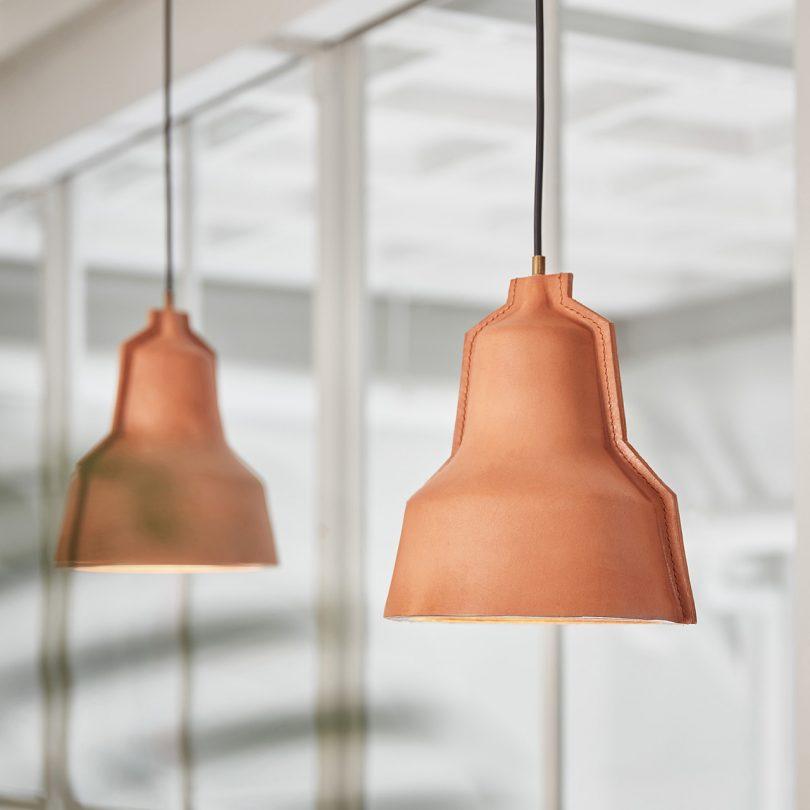 two brown pendant lights