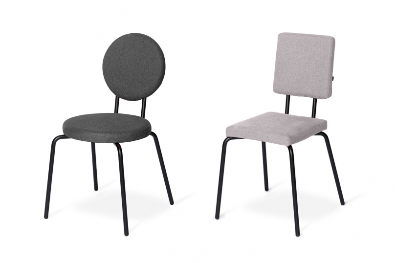 one black dining chair and one grey dining chair on white background