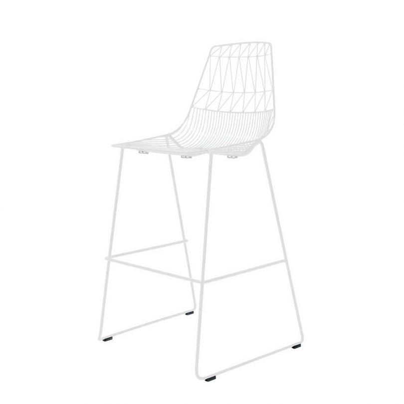 white geometric wire stool