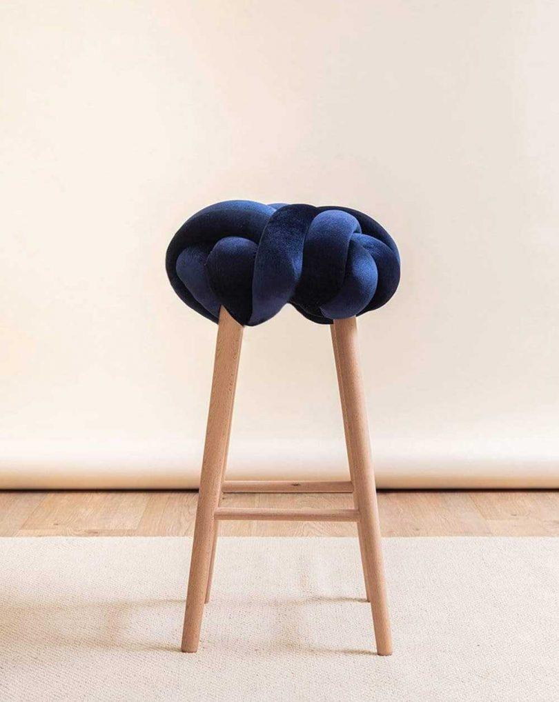 blue velvet knotted bar stool
