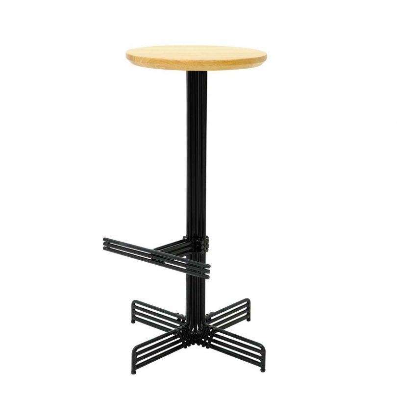 black wire and wood seat bar stool