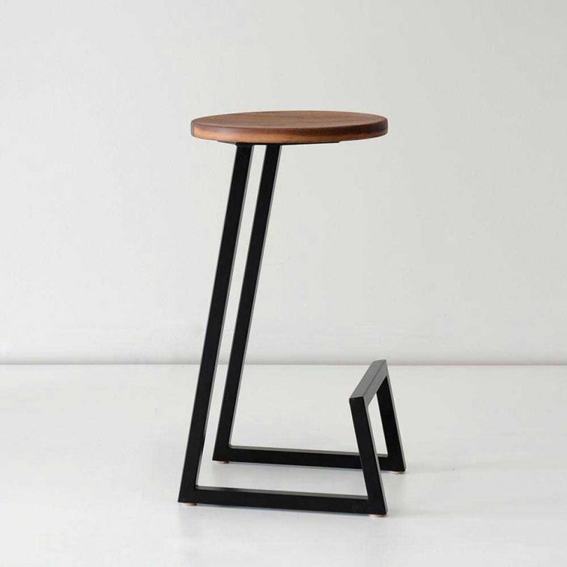simple wood and steel stool