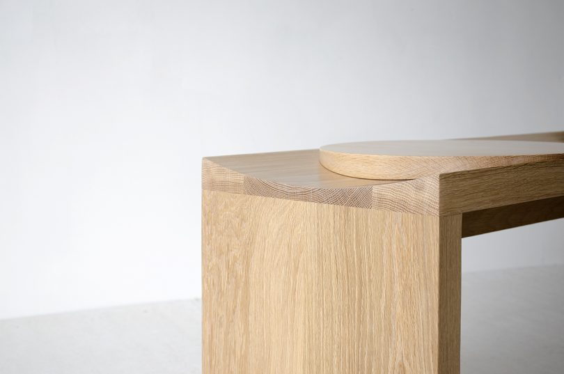 detail of wood bench