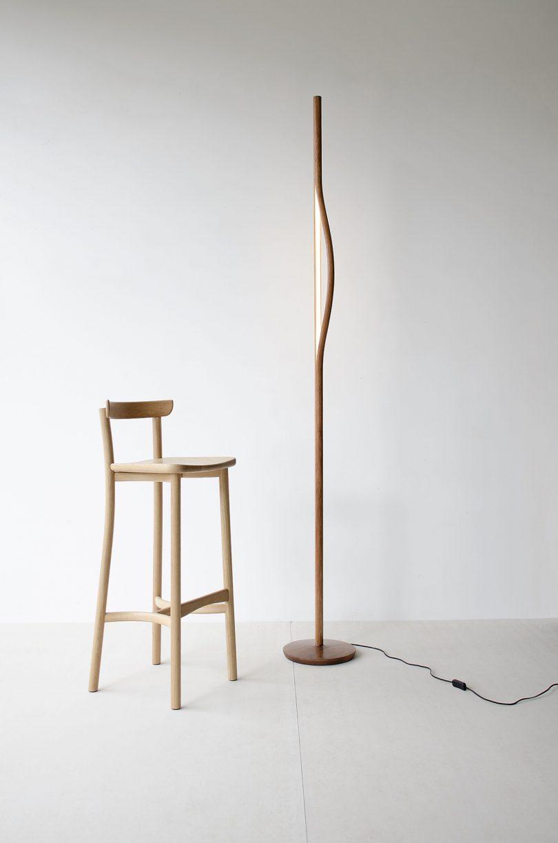wood floor lamp and wood stool