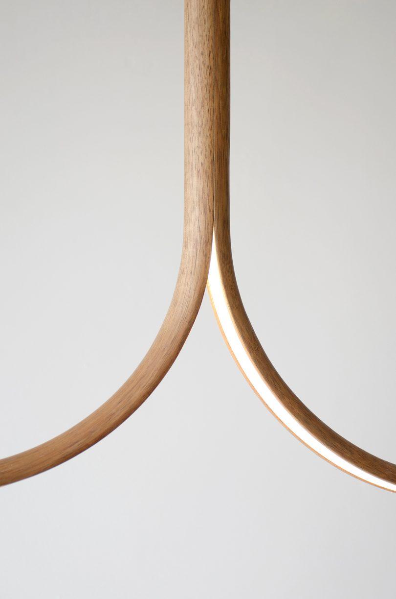 wood pendant light detail