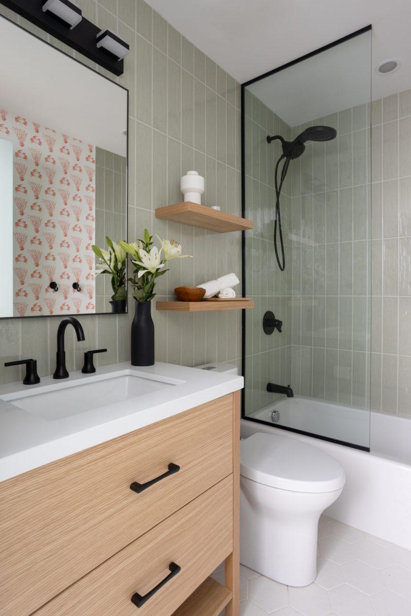 modern bathroom with black hardware