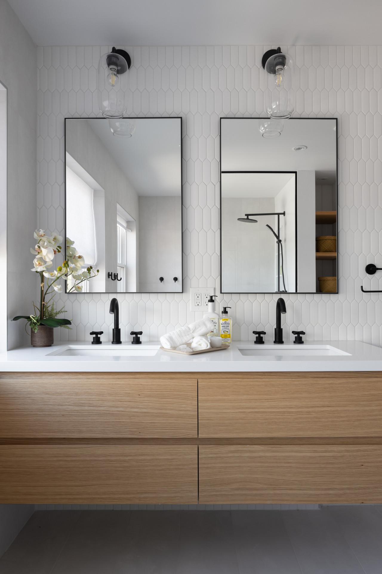 modern bathroom vanity with dual sinks