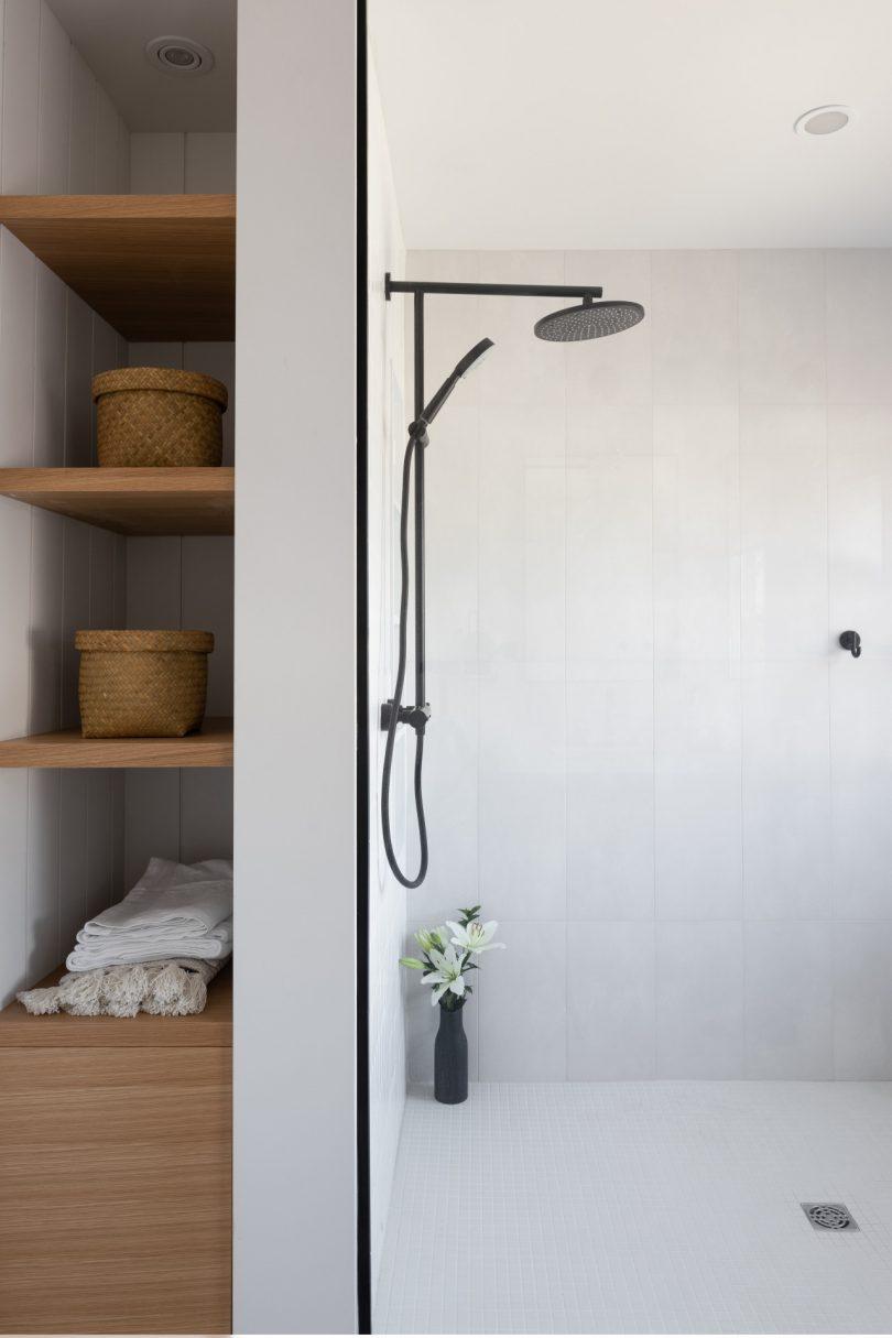 bathroom with open shelving