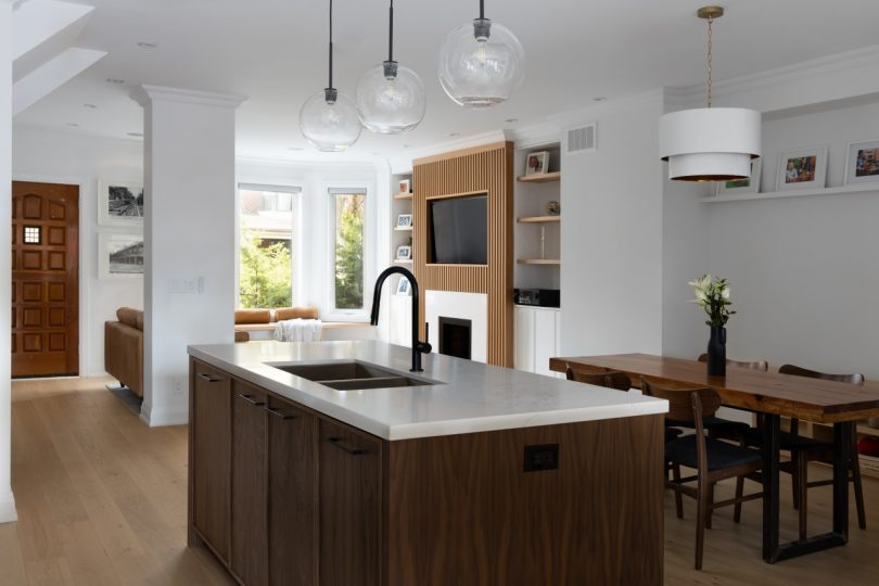 modern kitchen island and living room