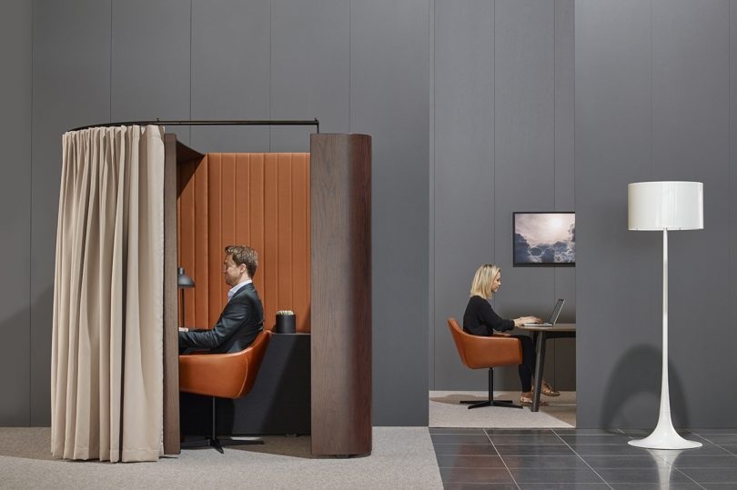 workspace with private booth table workspace
