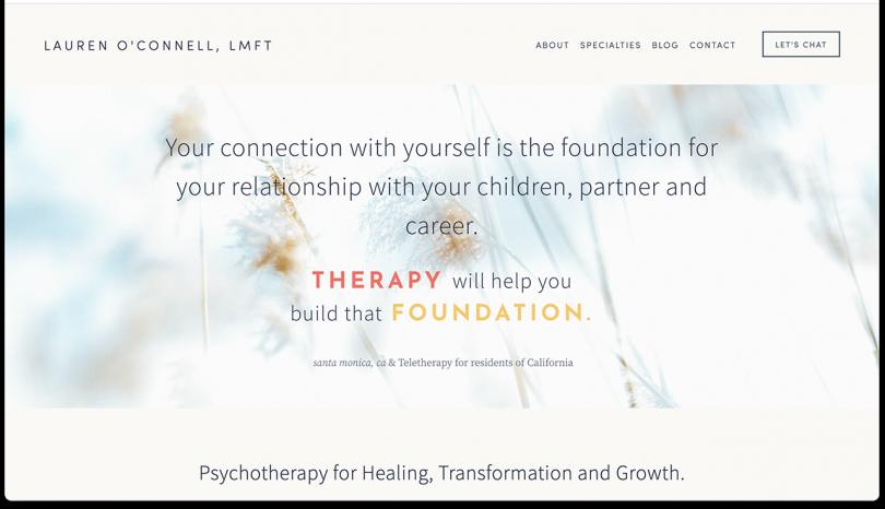 website featuring Lauren 'OConnell