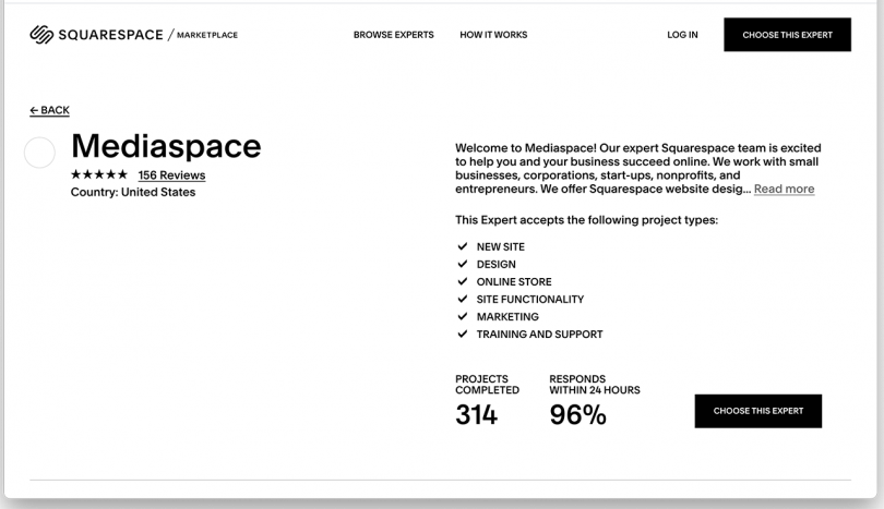 white website page featuring Mediaspace