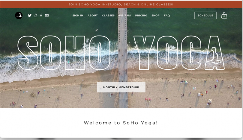 website with a photo of a beach and reading SOHO YOGA
