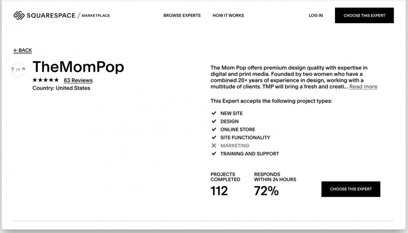 white website page featuring The Mompop