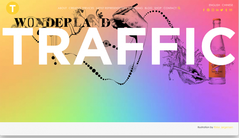 colorful website reading TRAFFIC in white
