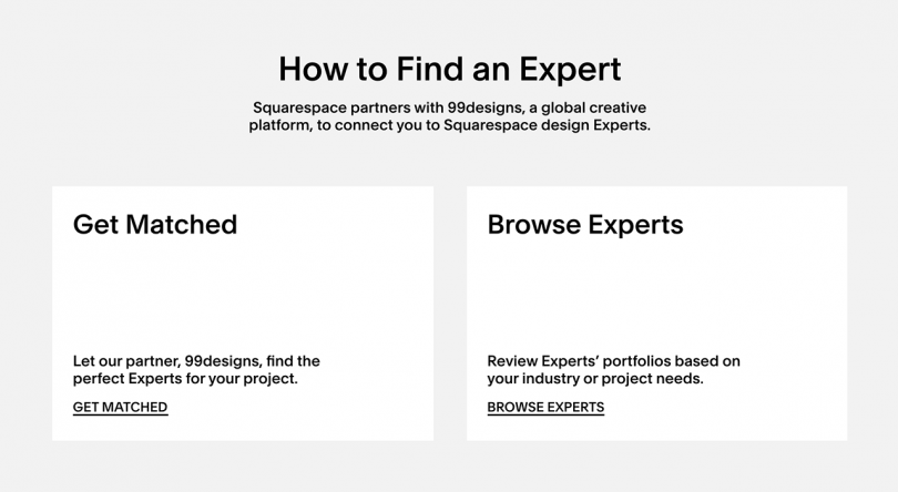 white and grey website page reading How to Find an Expert