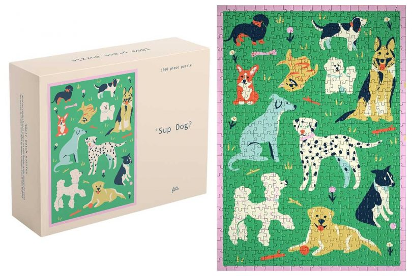 illustrated puzzle of various dogs