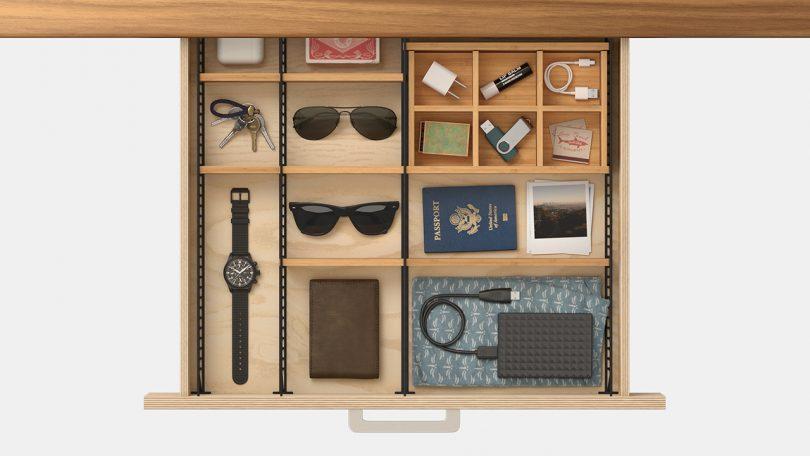overhead photo of adjustable drawer organizer with dresser accessories