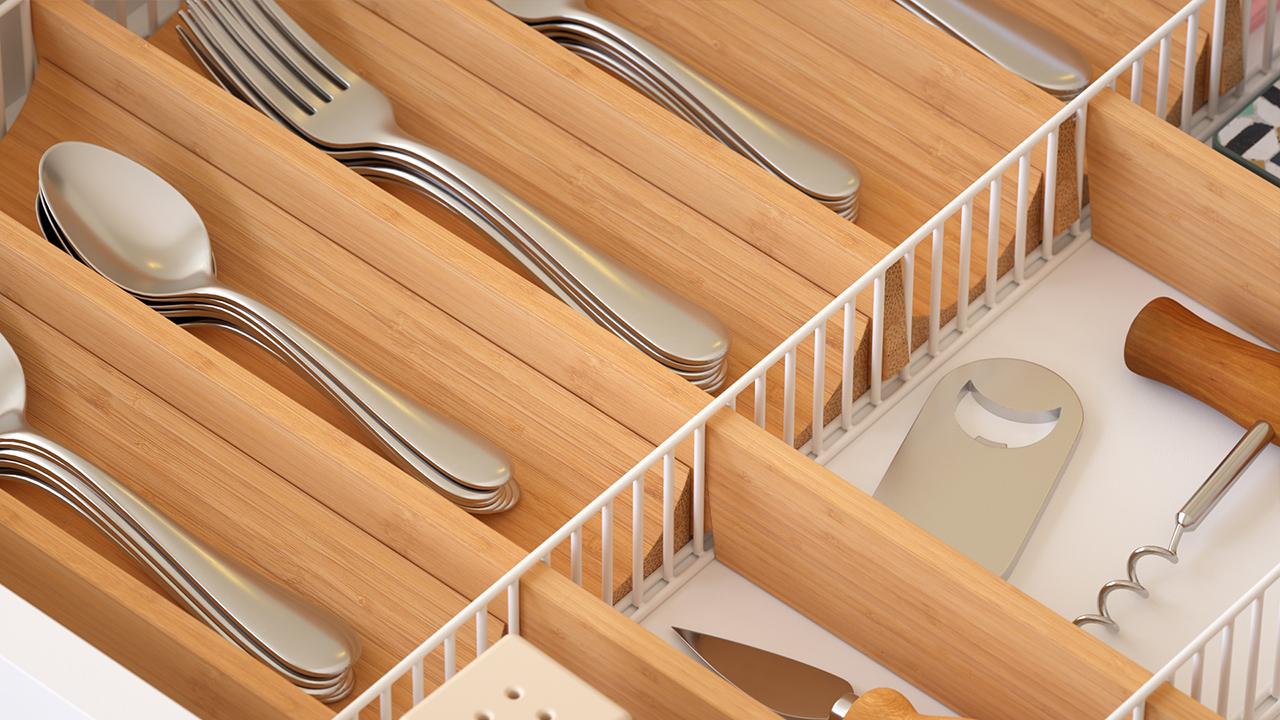 adjustable drawer organizer with kitchen utensils