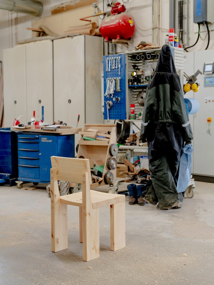 wood dining chair in workshop