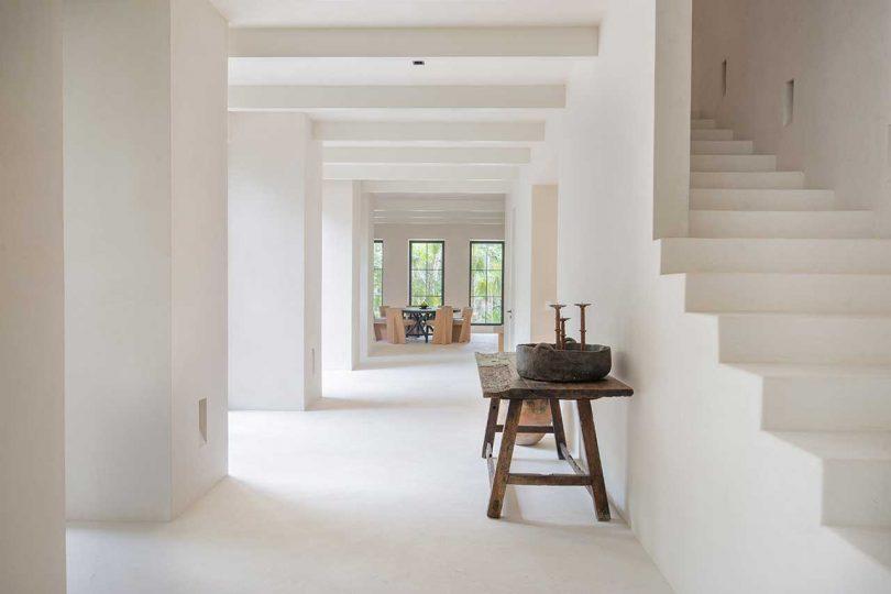 minimalist white hallway