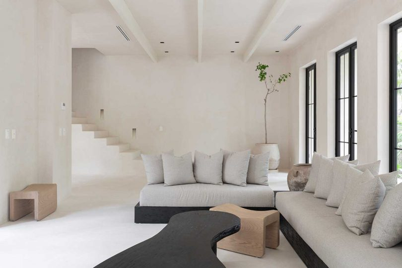 modern neutral living room with windows