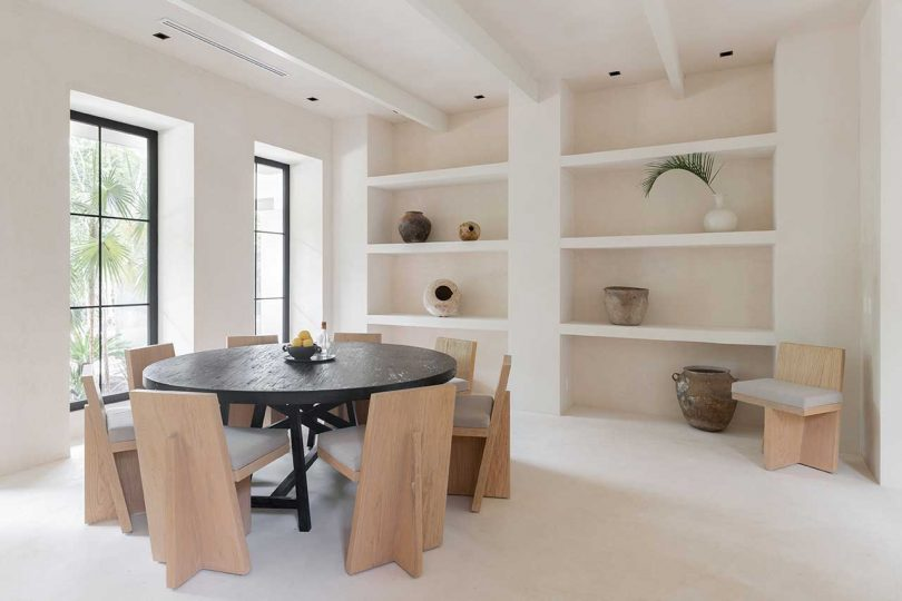 modern dining room with shelves