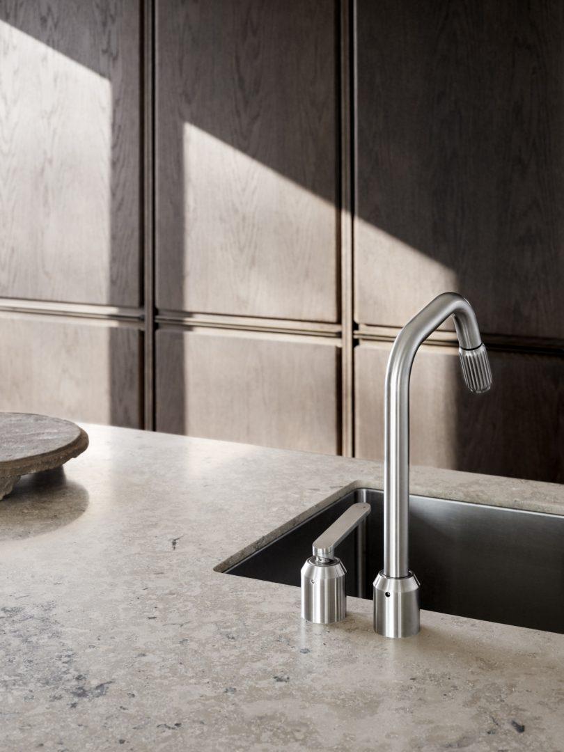 Vipp V2 stone and oak kitchen sink